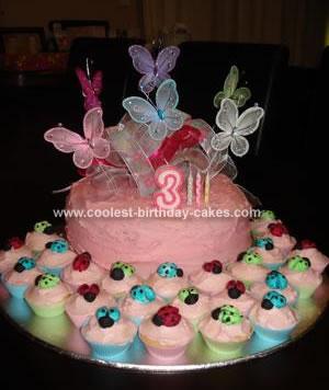 Homemade Butterflies and Ladybugs Cake