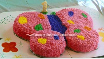 Homemade  Butterfly 1st Birthday Cake