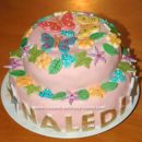 Homemade Butterfly and Flowers Birthday Cake
