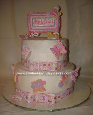 Homemade Butterfly Baby Shower Cake