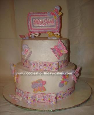 Homemade Butterfly Baby Shower Cake