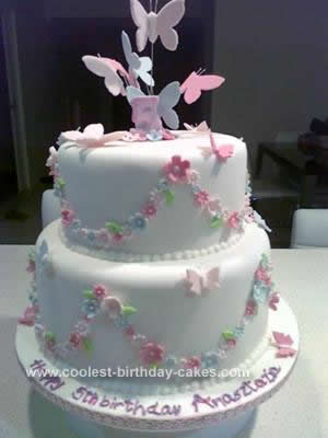 Awesome Beautiful Homemade Butterfly Birthday Cake Personalised Birthday Cards Petedlily Jamesorg