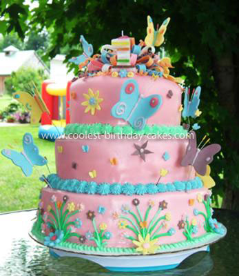 Astonishing Coolest Homemade 3 Tiered Butterfly Birthday Cake Personalised Birthday Cards Petedlily Jamesorg