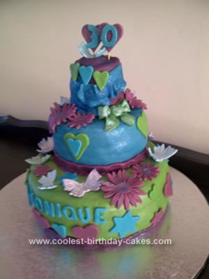 Cool Homemade 3 Tiered Butterfly Birthday Cake