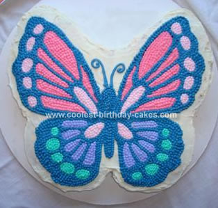 Homemade Beautiful Butterfly Birthday Cake