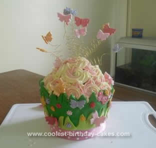 Homemade Butterfly Cupcake Birthday Cake