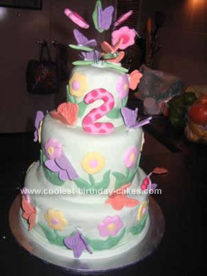 Homemade Butterfly Garden Birthday Cake