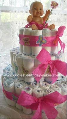 Homemade Butterfly Princess Baby Shower Diaper Cake