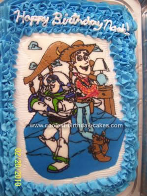 Homemade Buzz and Woody Toy Story Cake