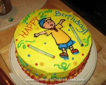 Homemade Calliou Coloring Book Cake