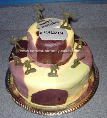 Homemade Camo Military Cake
