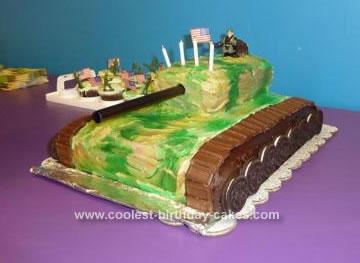 Homemade Camo Tank Birthday Cake