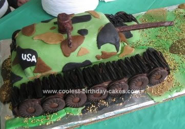Homemade Camouflage Tank Cake