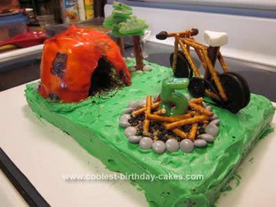 Homemade Camp Site Birthday Cake