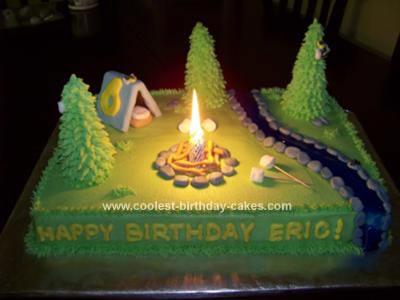 Peachy Cool Homemade Camping Birthday Cake With Campfire Funny Birthday Cards Online Alyptdamsfinfo