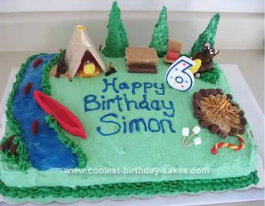 Superb Cool Homemade Camping Scene Birthday Cake Personalised Birthday Cards Cominlily Jamesorg