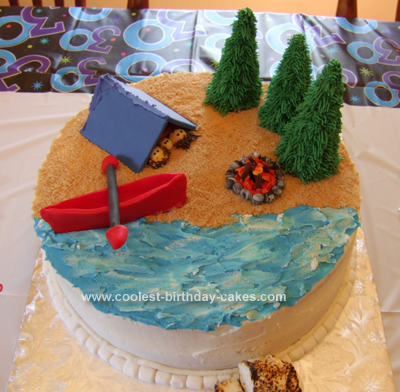 Coolest Homemade Camping Cake With Lake And Canoe