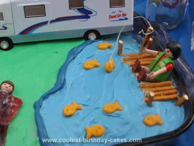 Homemade Camping Scene Birthday Cake