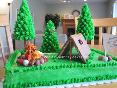 Homemade Camping Tent Birthday Cake
