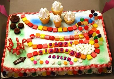 Amazing Cool Homemade Candyland Birthday Cake For A 4 Year Old Personalised Birthday Cards Veneteletsinfo