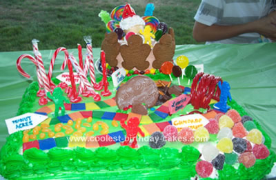 Swell Easy And Colorful Homemade Candyland Birthday Cake Birthday Cards Printable Opercafe Filternl