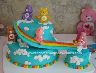 Homemade Care Bears Birthday Cake