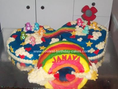 Homemade Carebear Birthday Cake