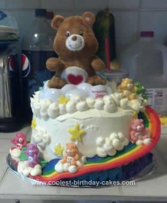 Homemade Carebear Cloud Birthday Cake