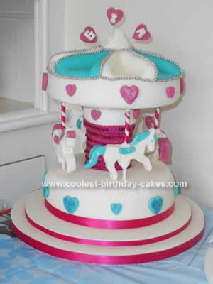 Homemade Carousel 1st Birthday Cake