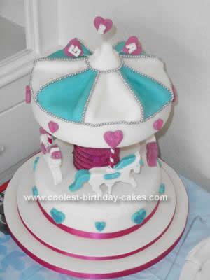 Homemade Carousel 1st Birthday Cake