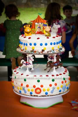 Cute Homemade Carousel Birthday Cake Decorated With M Amp Ms