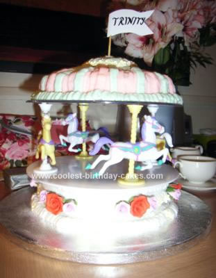 Pleasing Cute Homemade Carousel Cake For My Daughter Funny Birthday Cards Online Alyptdamsfinfo