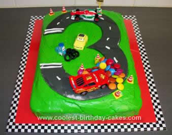 Homemade Cars 2 Race Track Birthday Cake