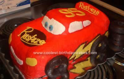 Homemade Cars Lightning McQueen Birthday Cake