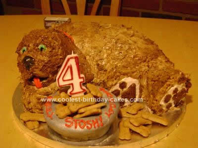 Homemade Carved Doggie Birthday Cake