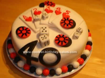 Homemade  Casino Cards Birthday Cake