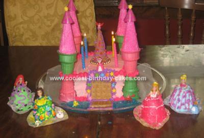 Homemade Castle Cake With Mini Princess Doll Cakes