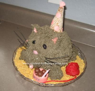 I Made This Cat Birthday Cake For My Sisters The Body From Wiltons Ball Pan Used Pink Bubble Gum Tongue
