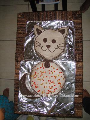 Sweet Homemade Cat Cake For My Daughters 1st Birthday