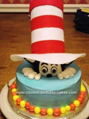 Awesome Cool Homemade Cat In The Hat Birthday Cake Funny Birthday Cards Online Alyptdamsfinfo