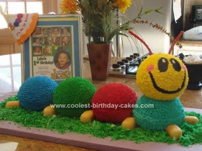 Homemade  Catepillar Birthday Cake
