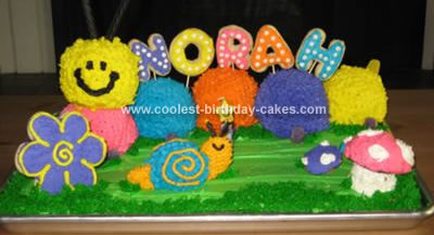 Homemade Caterpillar Garden Birthday Cake