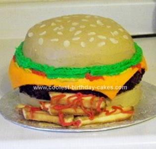 Homemade Cheeseburger And Fries Cake
