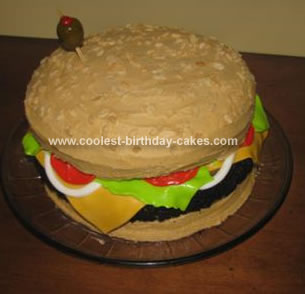 Pleasant Cool Homemade Cheeseburger Birthday Cake For My Hubbys 30Th Funny Birthday Cards Online Elaedamsfinfo