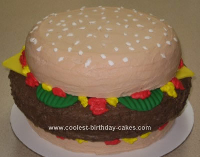 Homemade Cheeseburger Birthday Cake Design