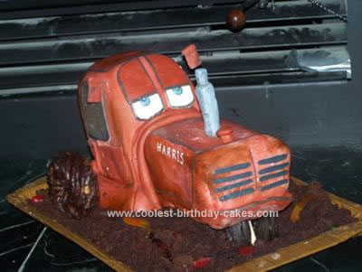 Homemade Chewall Tractor Cake from the Movie Cars
