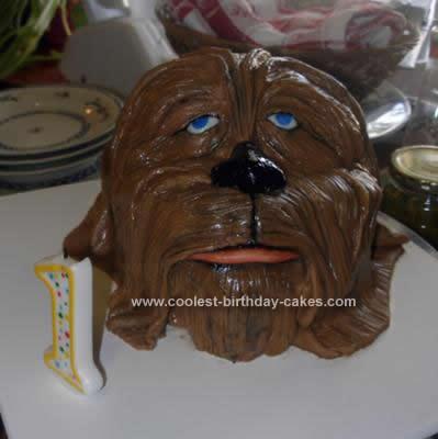 Homemade Chewbacca 1st Birthday Cake Design