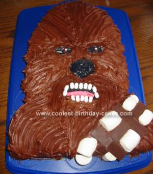 Homemade Chewbacca Star Wars Cake