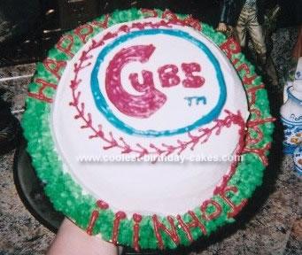 Homemade Chicago Cubs Cake