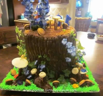 Homemade Chipmunk Stump Birthday Cake